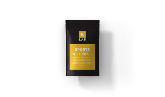 Black custom printed packaging with yellow label for the sports and fitness industry, by The Packaging Lab