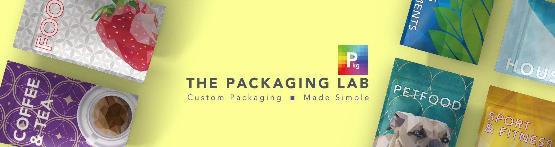 Examples of branded packaging with The Packaging Lab logo in the middle