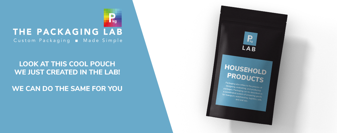 Black pouch with blue label with household products inside, printed by The Packaging Lab