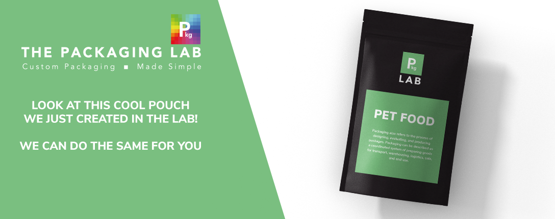 Custom packaging for pet food, printed by The Packaging Lab