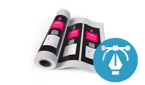 Custom-printed roll stock film with 'Design for me' icon, representing the design services offered by The Packaging Lab