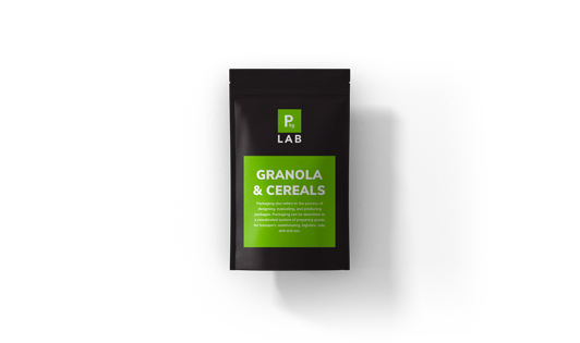 Black custom printed packaging with green label for the granola and cereal industry, by The Packaging Lab