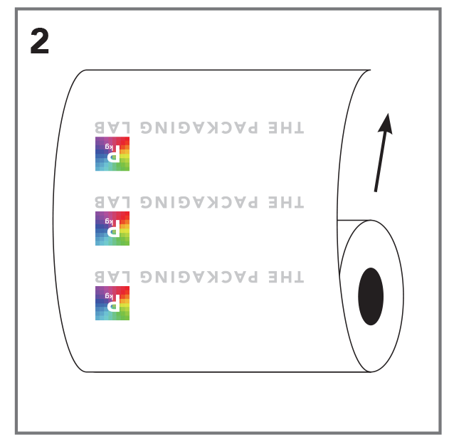 Vector of a roll stock film with The Packaging Lab logo upside down