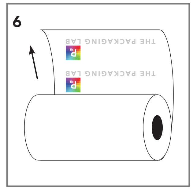 Vector of a roll stock film with The Packaging Lab logo upside down on the inside of the roll