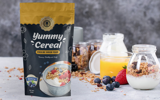 Custom printed stand up pouch for the granola industry - a service offered by The Packaging Lab
